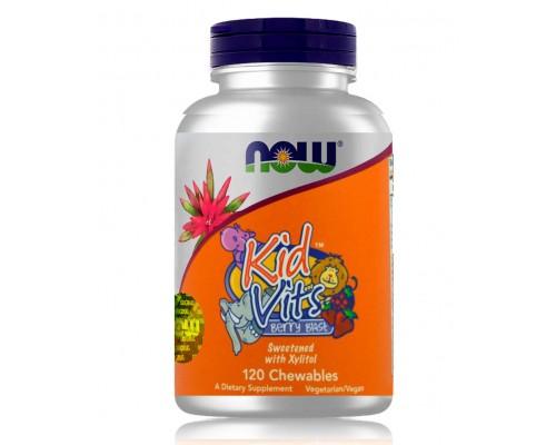 Витамины для детей з фруктовым вкусом Kid Vits №120 NOW Foods