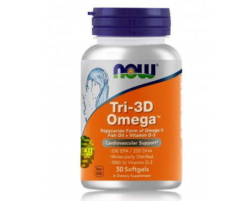 TRI-3D ОМЕГА у м'яких капсулах №30 NOW Foods
